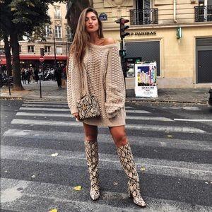NWT Zara heeled snakeskin print boots